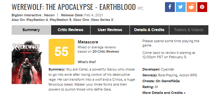 نمرات Werewolf The Apocalypse Earthblood
